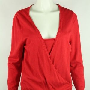 BCBG MaxAzria Women's Cross Over Blouse Solid Red